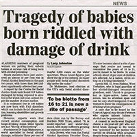Foetal Alcohol Syndrome news story (Sunday Express)